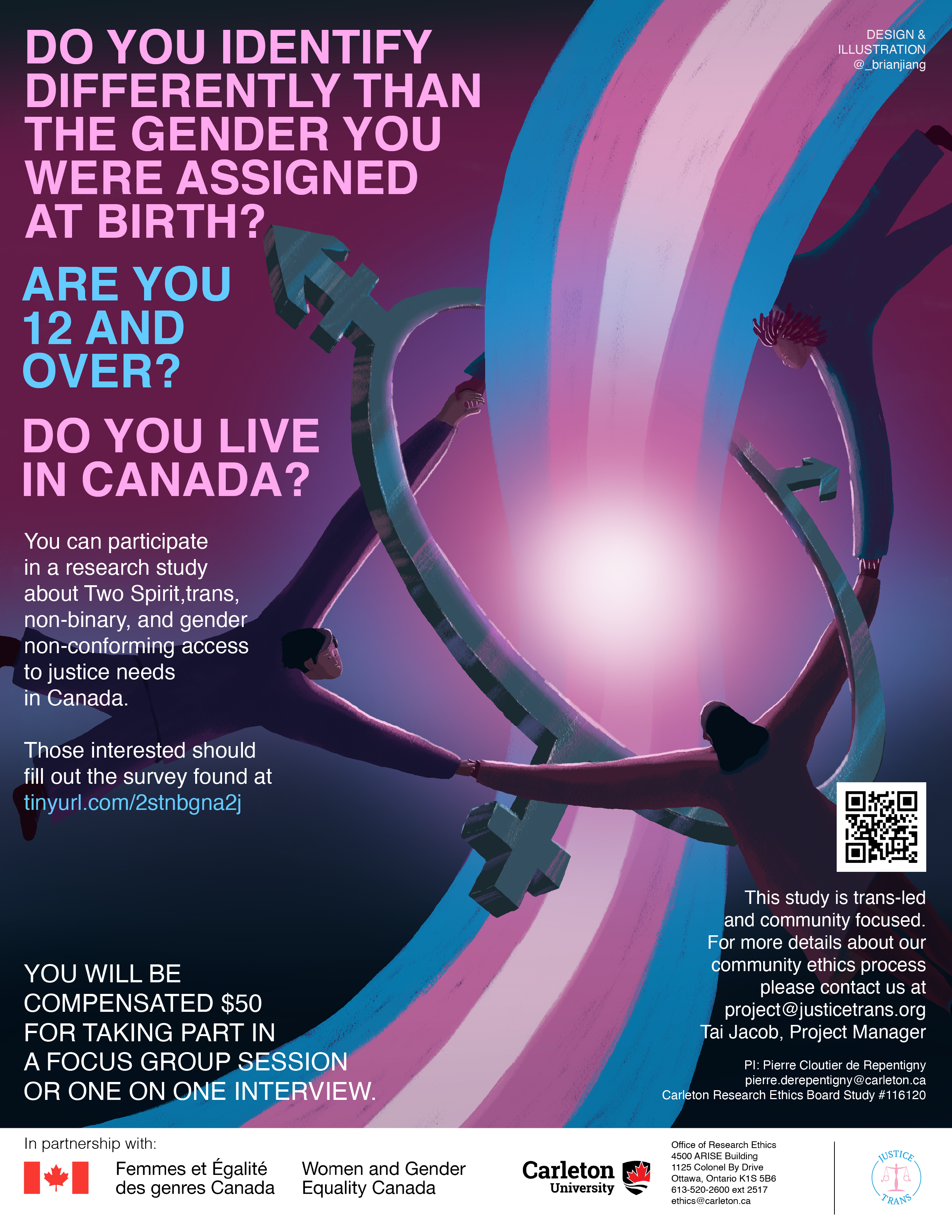 """Poster with a dark gradient pink and blue background. Left-aligned text in the top left corner in pink reads """"Do you identify differently than the gender you were assigned at birth?"""" followed by text in blue reading """"Are you 12 and over?"""" followed once more by pink text reading """"Do you live in Canada?"""" Below this is smaller white text reading """"You can participate in a research study about Two Spirit, trans, non-binary, and gender non-conforming access to justice needs in Canada."""" After a space, further white text reads """"Those interested should fill out the survey found at tinyurl.com/2stnbgna2j."""" The bottom right corner has white text reading """"You will be compensated $50 for taking part in a focus group session or a one on one interview,"""" and the bottom left corner has a QR code leading to the same site as the link, with white text below that reading """"This study is trans-led and community focused. For more details about our community ethics process please contact us at project@justicetrans.org."""" The image on the poster shows the trans flag, curved, stretching from the bottom left corner to the top right corner. A dark grey trans symbol (a ring with a cross, an arrow, and a cross and an arrow combined) circles around the flag as a ring, with three people holding hands also encircling the flag and the symbol. In the centre of the symbol is a bright white glare. At the bottom of the poster is a white band with black text reading """"In partnership with:"""" followed by the logos of Women and Gender Equality Canada, Carleton University, and JusticeTrans (in order from left to right)."""